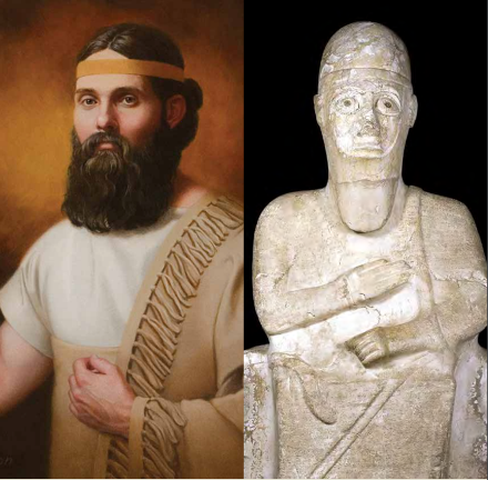 Abraham by Emily Gordon side-by-side with an image of the statue of Idrimi via the Maxwell Institute.