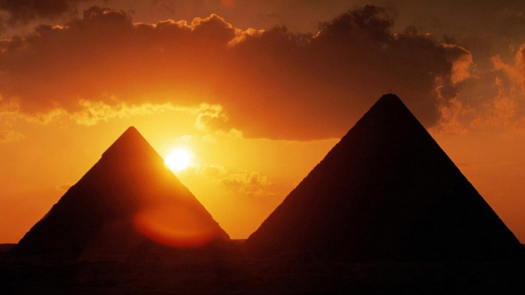 egyptian pyramids at sunset